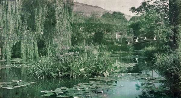 Waterlily Pond and Japanese Bridge in Monet's Garden at Giverny, early 1920s (photo)
