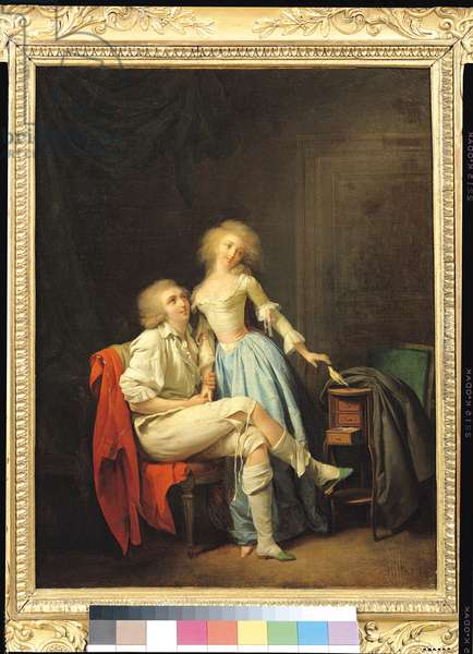 Couple with an Escaped Bird (oil on canvas)