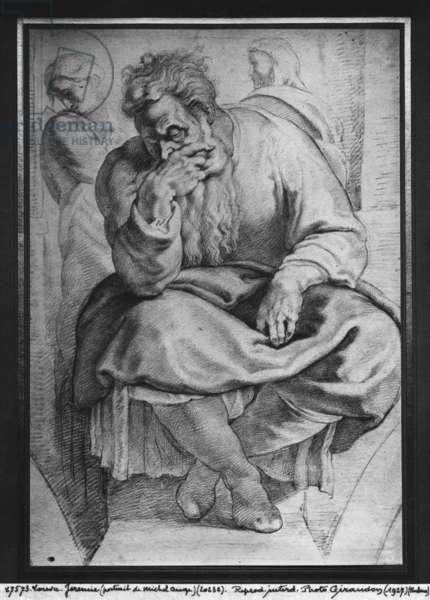 The Prophet Jeremiah, after Michelangelo Buonarroti (pierre noire & red chalk on paper)