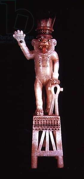 Leomorphic unguent vase, from the Tomb of Tutankhamun, New Kingdom (alabaster)