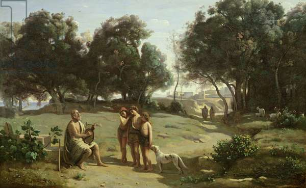 Homer and the Shepherds in a Landscape, 1845 (oil on canvas)