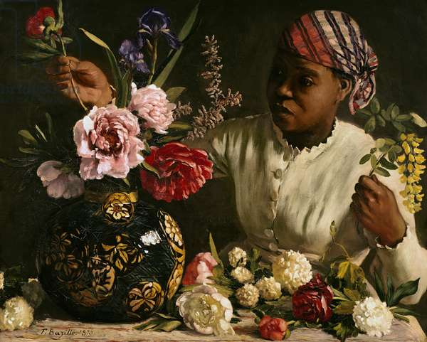 Negress with Peonies, 1870 (oil on canvas)