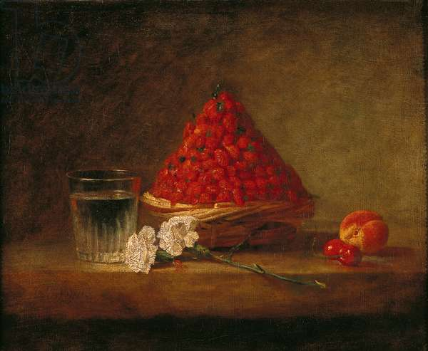 Basket with Wild Strawberries, c.1761 (oil on canvas)