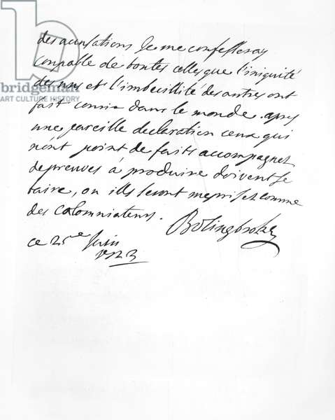 Letter sent by Lord Bolingbroke to the Abbé Alari (litho)