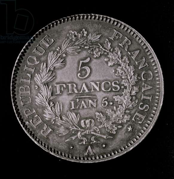 A pound of twenty sols, equivalent to the first franc of the First Republic (obverse) (metal) (b/w photo)