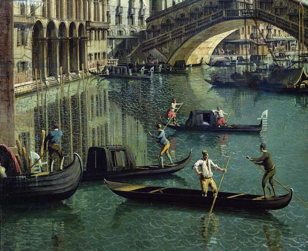 Gondoliers near the Rialto Bridge, Venice (oil on canvas) (detail of 155335)