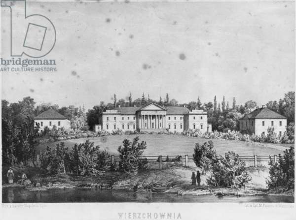 The Castle of Wierzchownia, residence of Countess Evelina Hanska, wife of the French novelist Honore de Balzac (litho)