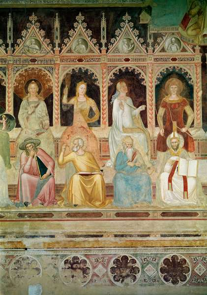 The Triumph of the Catholic Doctrine, detail of Practical Theology and Boethius, Hope and St. John Damascene, Faith and St. Denys the Areopagite, Charity and St. Augustine, from the Spanish Chapel, 1366-68 (fresco)