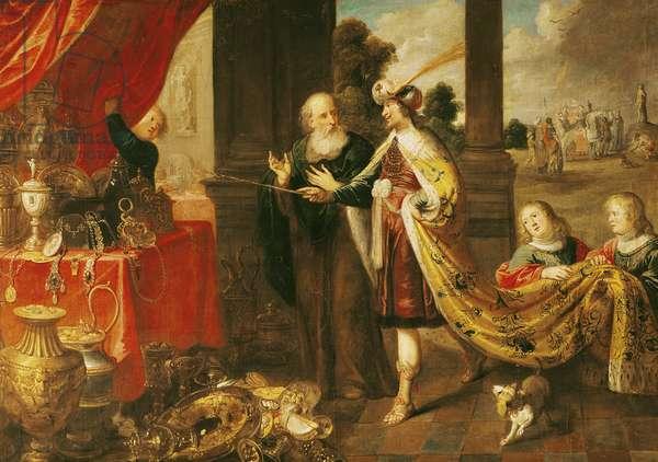 Ahasuerus Showing his Treasure to Mordecai (oil on canvas)