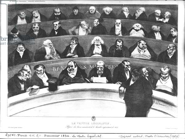 The Stomach of the Legislature, the Ministerial Benches of 1834 (litho) (b/w photo)