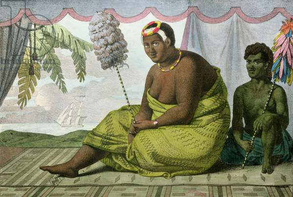 Ka'ahumanu, Queen of the Sandwich Islands, from 'Voyage Pittoresque autour du Monde', engraved by G. Langlume (fl.1822-40) 1822 (colour litho)