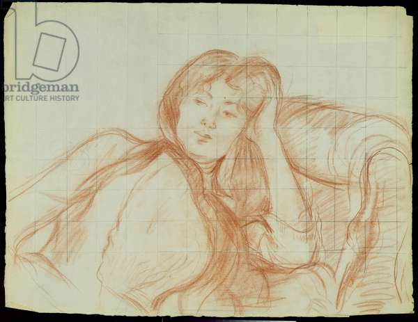 Young Girl Leaning on her Elbow, 1887 (red chalk on paper)