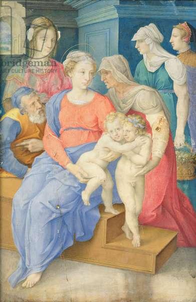 The Holy Family with St. Elizabeth, St. John the Baptist and Three Noblewomen, c.1557 (vellum)