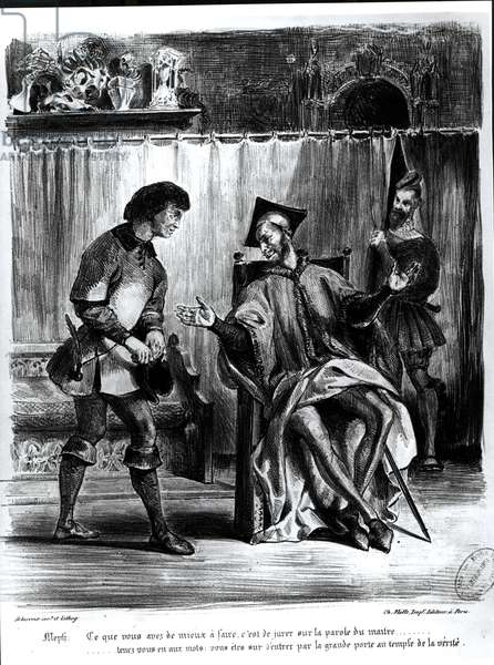 Mephistopheles and the Pupil, from Goethe's Faust, (illustration), (b/w photo of lithograph)