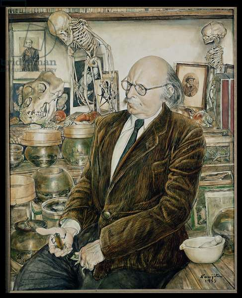 Portrait of Jean Rostand (1894-1977) in his house at Ville d'Avray, 1955 (oil on canvas)