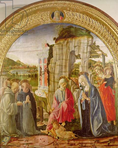 Adoration of the Child by St. Ambrose and St. Bernard (oil on panel)
