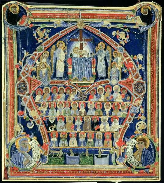 Historiated initial 'A' depicting The Last Judgement (vellum)