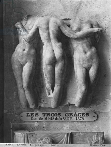 The Three Graces, Roman copy of a Hellenistic Greek original of 2nd century BC (marble) (b/w photo)