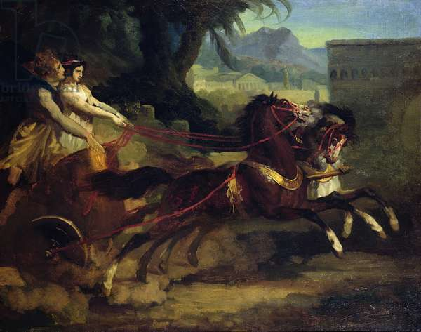 Ancient Chariot Race, after a painting by Carle Vernet (oil on canvas)