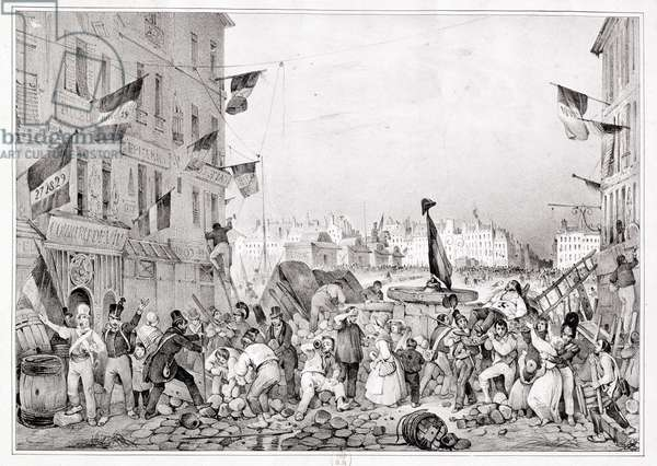 Barricade at the Rue Dauphine, 29th July 1830, engraved by H. Delaporte (litho)