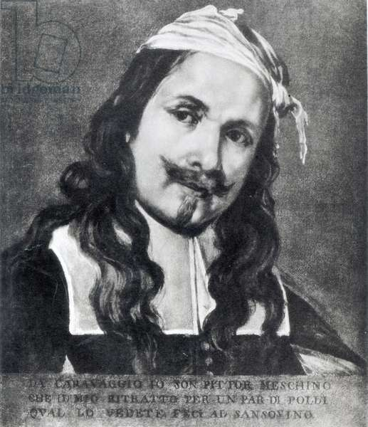 Self-portrait (oil on canvas) (b/w photo)