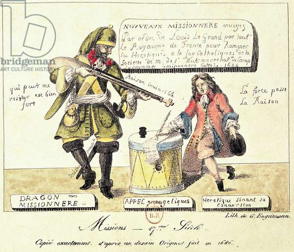 Missions of the 17th Century: The Missionary Dragoon forcing a Huguenot to Sign his Conversion to Catholicism, exact copy after an original drawing of 1686 (engraving)