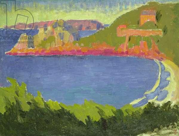Evening high tide at Trestrignel, c.1910 (oil on canvas)