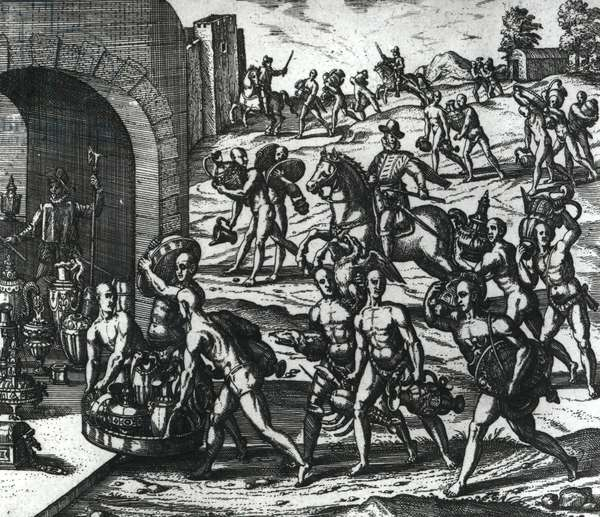 Indians bringing Balboa vases and gold objects (engraving) (b/w photo)