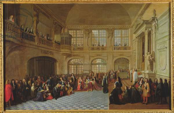 Philippe de Courcillon (1638-1720) Marquis of Dangeau pledging his oath to King Louis XIV (1638-1715) in 1695, late 17th century (oil on canvas)