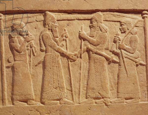Relief depicting King Shalmaneser III (858-824 BC) of Assyria meeting a Babylonian (stone)