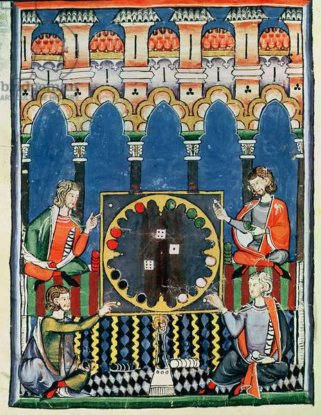 Fol.89v  Four Arabic Backgammon Players, from the 'Book of Games, Chess, Dice and Boards', 1282 (vellum)
