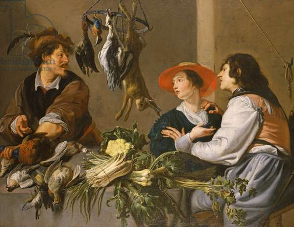 Game and Vegetable Sellers (oil on canvas)