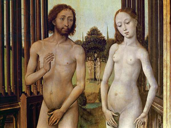Adam and Eve expelled from the Garden of Eden after being tempted by the serpent to eat the apple, c.1460 (oil on panel) (detail of 488611)