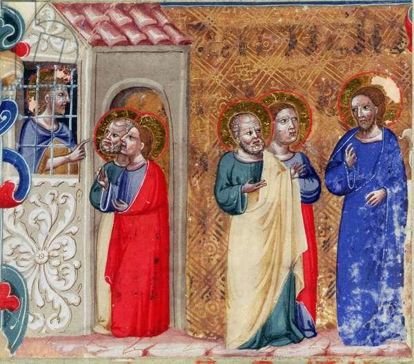 St. John imprisoned and sending two disciples to Christ (vellum)