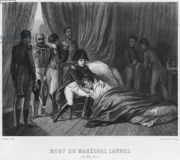 Last moments of Marshal Lannes, Duke of Montebello, at the battle of Essling on 22nd May 1809, engraved by Abraham Girardet (1764-1823) (engraving) (b/w photo)
