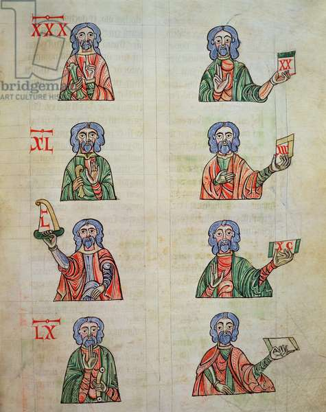 Fol.252r Finger counting from 1 to 20000, from 'De numeris. Codex Alcobacense' by Rabanus Maurus (780-856) (vellum)