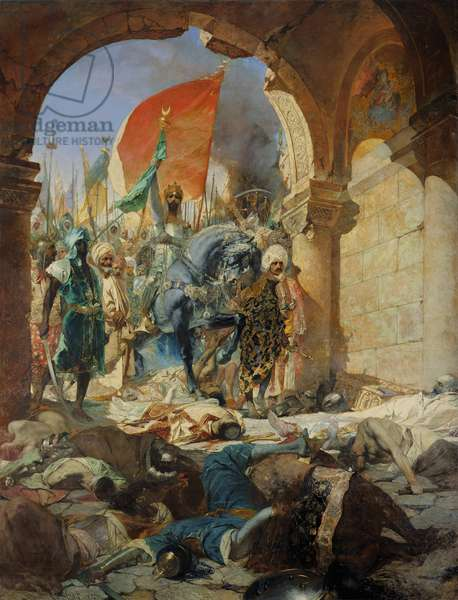 Entry of the Turks of Mohammed II (1432-81) into Constantinople, 29th May 1453, 1876 (oil on canvas)