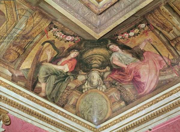 Ceiling of the Hôtel de l'Abbé de La Rivière: The Muses Polyhymnia and Melpomene, 1653 (oil on canvas)