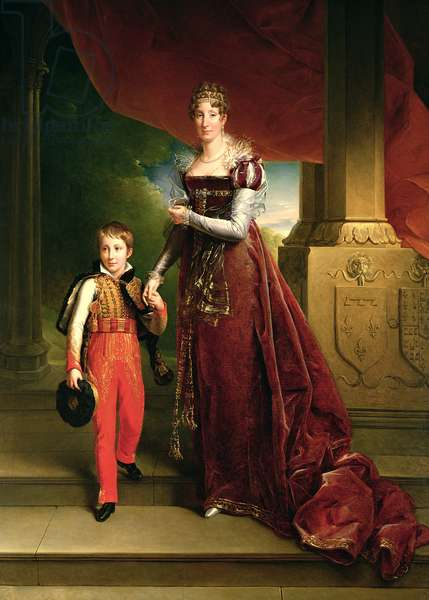 Marie Amelie de Bourbon (1782-1866) Duchess of Orleans and her Son, Prince Ferdinand (1810-42) Duke of Chartres (oil on canvas)