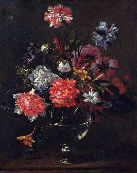 Flowers in a Glass Vase (oil on canvas)