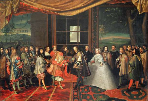 Meeting between Louis XIV and Philippe IV at Isle des Faisans, 7th November 1659 (oil on canvas)