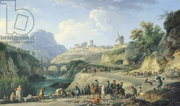 The Construction of a Road, 1774 (oil on canvas) (see also 695016)