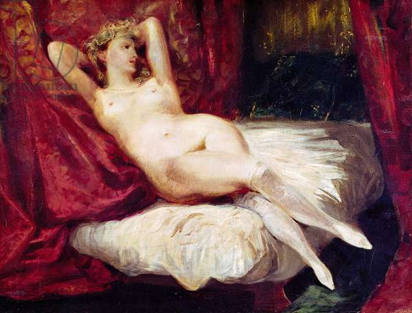Woman with White Stockings (oil on canvas)