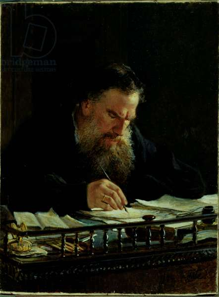 Portrait of Lev Tolstoy (1828-1910) (oil on canvas)