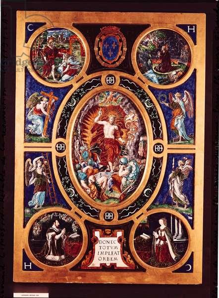 Altarpiece of Sainte-Chapelle, depicting the Resurrection, enamelled by Leonard Limosin (1505-76) 1553 (enamelled brass)