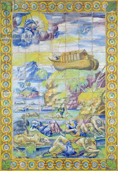 Tile depicting the Story of Noah: The Ark on Mount Ararat after the Flood, made in Rouen (faience)