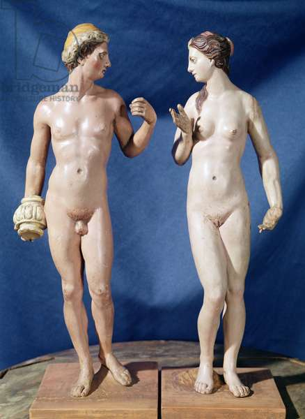 Adam and Eve (painted plaster)