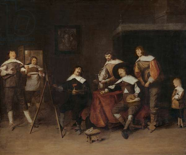 An artist painting the portrait of a young lord in Antwerp (oil on panel)