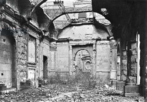 Ruins of the Cour des Comptes during the Commune of Paris, 1871 (b/w photo)