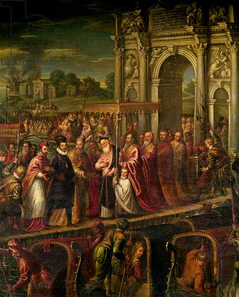 King Henri III (1551-89) of France visiting Venice in 1574, escorted by Doge Alvise Mocenigo (1570-77) and met by the Patriarch Giovanni Trevisan, from the Room of the Four Doors (oil on canvas)